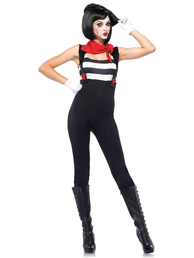 Sexy Marvelous Mime Costume | Cheap Adult Clown Costumes for Halloween