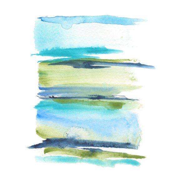 Bleu Aquarelle Art Contemporain Peinture Impression Abstraite