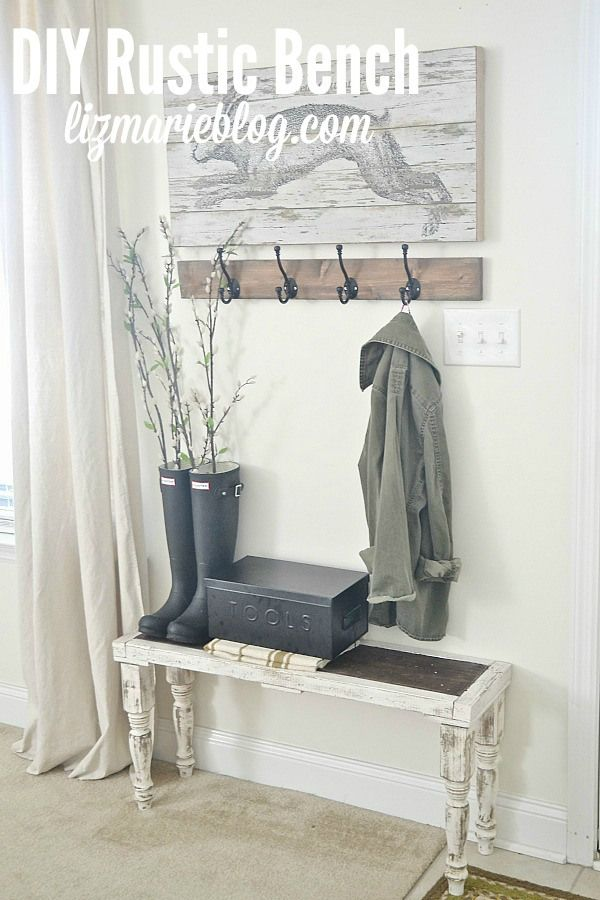 Diy Small Foyer : Diy rustic bench entry ways small and offices