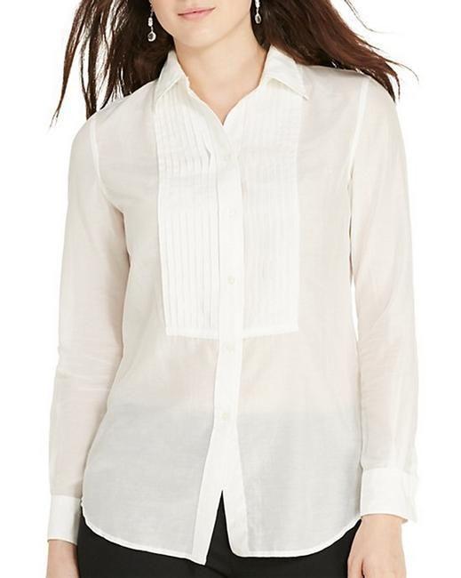3a5bdba6 Lauren Ralph Lauren Women Shirt Button Down Cotton Silk Pleated Bib White  12 #LaurenRalphLauren #ButtonDownShirt