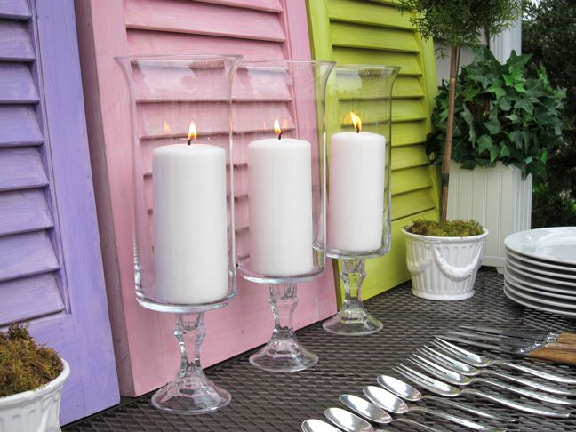 DIY: $2 Candle Holders - Great Dollar Store Craft - Could also be used for storing make-up brushes,  toothbrushes, etc. in bathroom
