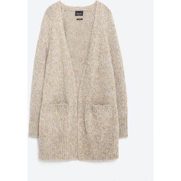Zara Oversized Cardigan (£46) ❤ liked on Polyvore featuring tops, cardigans, zara top, pink oversized cardigan, zara cardigan, oversized cardigan and pink top