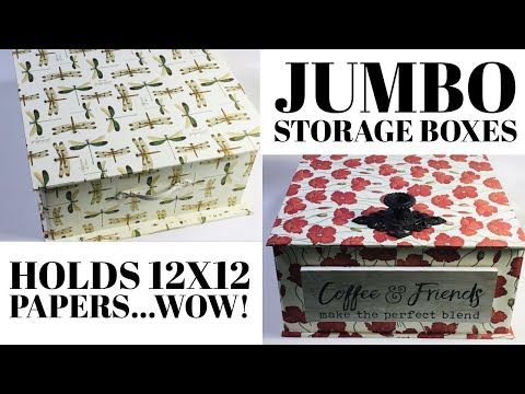 Make These Easy Craft Storage Boxes Holds 12x12 Papers Custom Home Organization Decor Boxes Youtube In 2020 Craft Storage Box Craft Storage Paper Storage