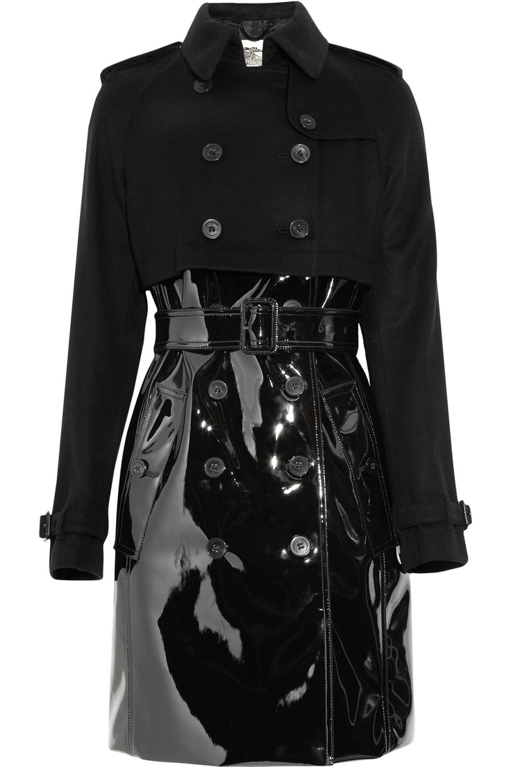 Hybrid coats are one of the coolest outerwear styles for FW11, and Burberry London's glossy patent and wool-blend trench is the perfect way to work the trend with attitude. Style it with sleek skinny pants and razor-sharp stilettos for a high-octane after-dark look. $1495