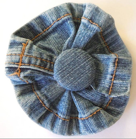 Deconstructed Jeans Denim Hair Flower Bow by ExcuseMeDesigns,