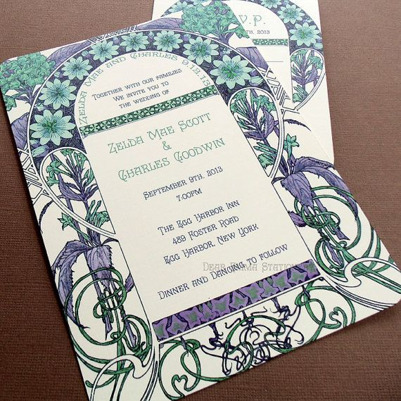 Zelda's Garden Wedding Invitations - Art Nouveau Art Deco - Great Gatsby Invitation and Reply cards - Sample