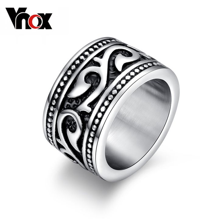 Vnox 14mm Rings For Men Stainless Steel Cocktail Ring Retro Gothic Male Jewelry