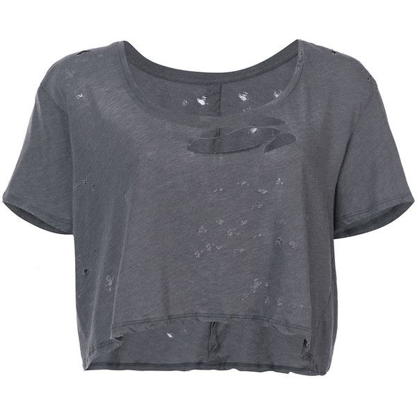 Unravel Project distressed cropped T-shirt (£275) ❤ liked on Polyvore featuring tops, t-shirts, grey, grey crop top, torn t shirt, ripped tee, destroyed t shirt and gray crop top