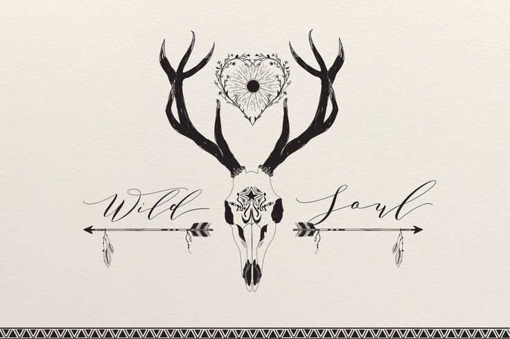 Wild Soul – Bohemian Sketches by Friendly Label on Creative Market   BOHO graphics, package, bohemian, boho, sketches, hand sketched, hand drawn, bull skull, deer skull, feathers, arrows, flowers, tribal drawings