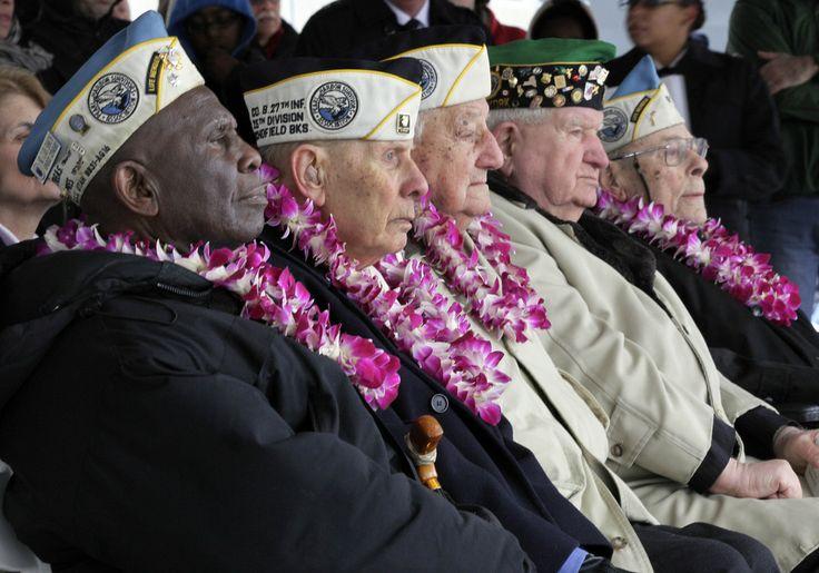 Pearl Harbor survivors, from left, Clark Simmons, of Brooklyn, NY; Aaron Cahbin, of Bayside, NY; Armando Chick Galella, of Sleepy Hollow, NY...