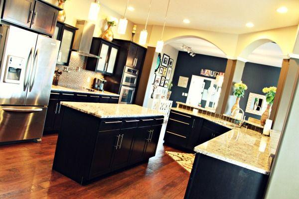 kitchen with dark countertops
