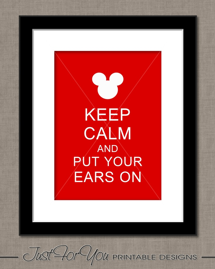 Keep Calm and Put Your Ears On - Mickey Minnie Mouse Disney Inspired - Red - YOU PRINT (Digital File) 8x10 Print Sign Poster Wall Art. $4.00, via Etsy.