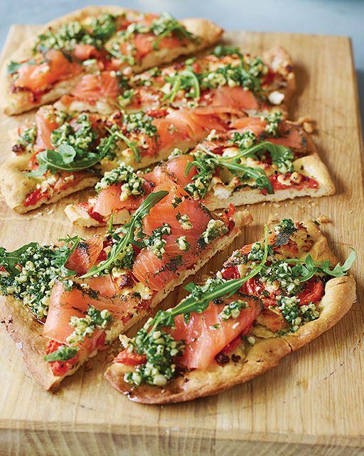 Norwegian Pizza w/ Smoked Salmon, Goat Cheese & Herb Oil [Recipe from Sweet Paul Magazine]