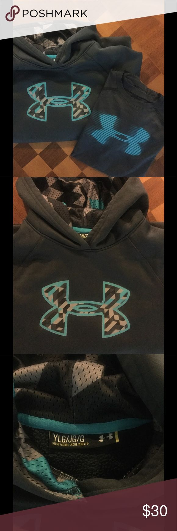 Under Armour hoodie and tshirt set Hoodie is YL black with turquoise & gray logo, tshirt is YM black with turquoise logo Under Armour Shirts & Tops