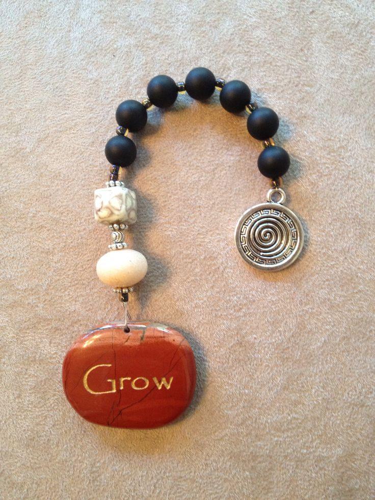 Handmade Christian prayer beads with stone rock.