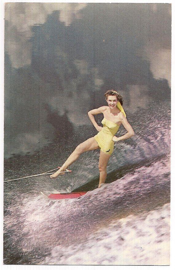"""Retro Water Ski Vintage Postcard """"Look, One Foot!"""""""