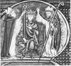 Baldwin I of Jerusalem - Tapınak Şövalyeleri - Vikipedi-I. Baudouin'e, Tapınakçılar tarafından taç giydirilmesi. (Histoire d'Outremer), 13. yüzyıl.