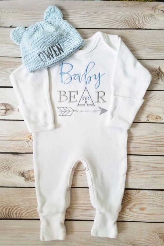 e6bab5970 Baby Boy Footed Sleeper Baby Boy Take Home Outfit Newborn Baby Boy  Personalized Knit Teddy Bear Hat Baby Boy Gift