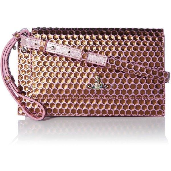 29f7eebec7 Vivienne Westwood Venice Honeycomb Clutch ($390) ❤ liked on Polyvore  featuring bags, handbags, clutches, bags & luggage handbags, brown purse,  ...