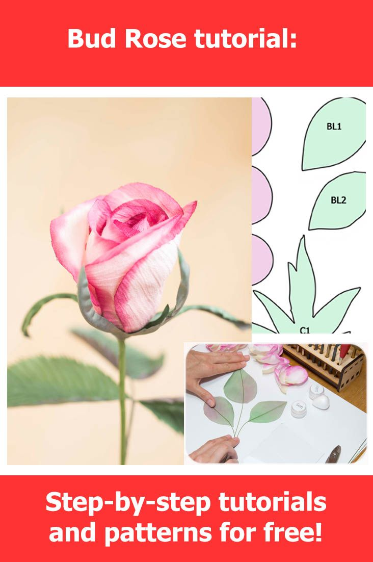 Detailed instruction of how to make Bud flower Rose. Contains step-by-step tutorial and pattern. Making fabric flowers so funny!
