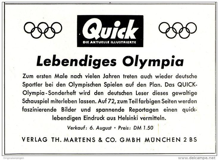 Werbung - Original-Werbung/ Anzeige 1952 - OLYMPIA / ZEITSCHRIFT QUICK - ca. 140 x 100 mm