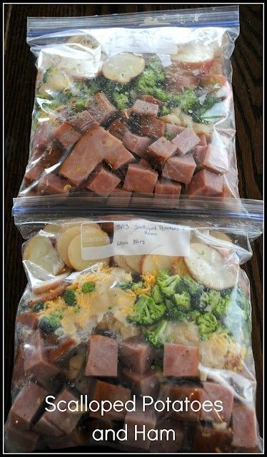 Scalloped Potatoes and Ham Crockpot Freezer Meal - 12 new potatoes and cut into ¼ inch round slices; 2 cans of cream of your choice; 2 cans of water; 2 ham steaks cubed; 8 oz cheddar cheese; 4 cups of broccoli salt and pepper Directions: Divide everything evenly into two containers. Freeze bags...when ready to eat, add to crock pot and cook on low for 8 hours. by esmeralda