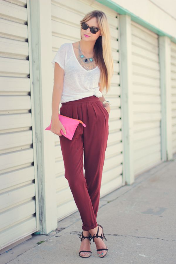 formula: loose pants + tied up shirt + statement necklace = out the door!