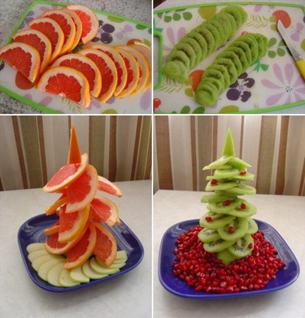 how to make edible fruit christmas trees grapefruit kiwi pomegranate
