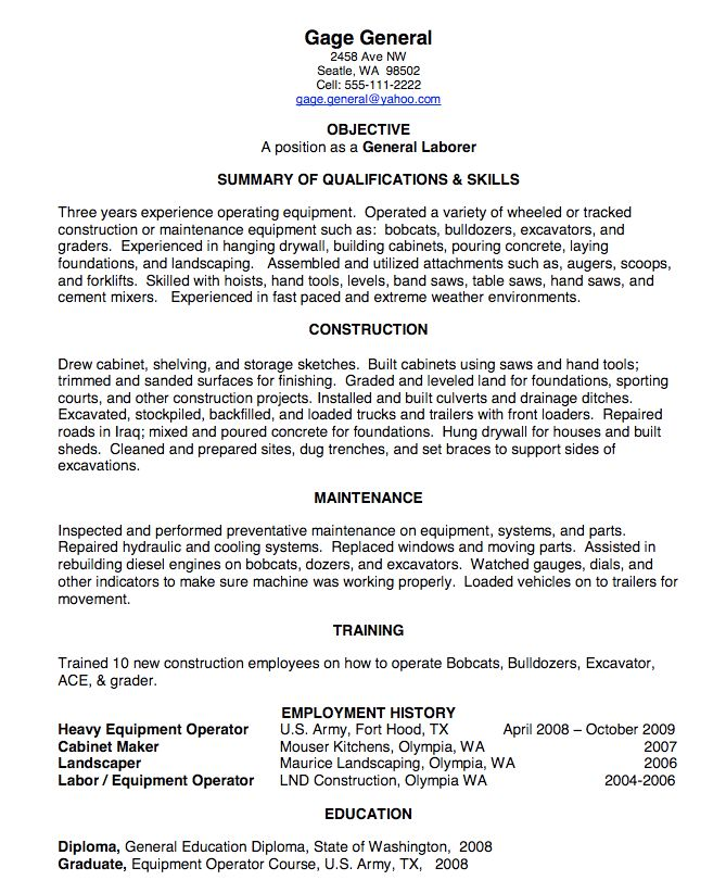 Landscaping Resume Samples General Objective For Resume General Labor Resume  Samples Teacher .