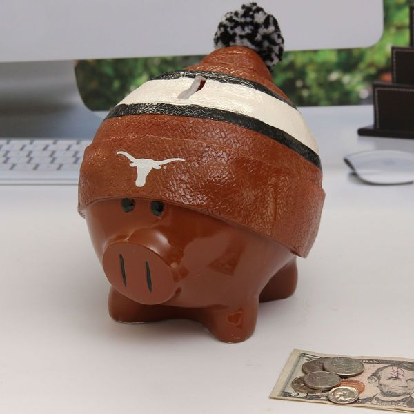 Texas Longhorns Large Piggy Bank With Hat - $18.99