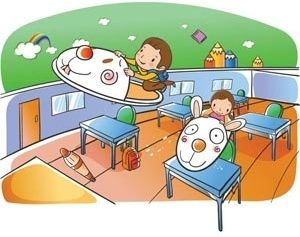 beautiful cute children playing in class room vector drawing illustration