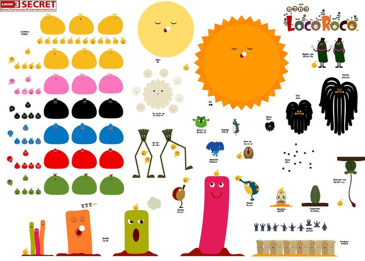 LocoRoco. Personnage extrêmement simple à dessiner sous Flash et du coup super cool a animer. Pensez-y !!!
