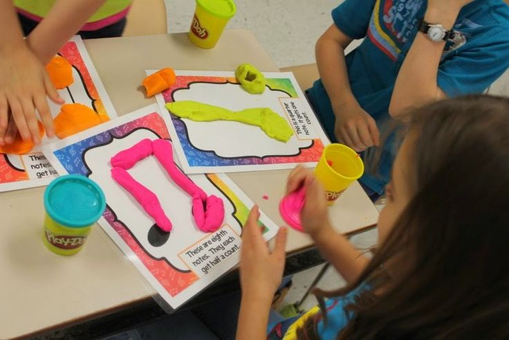Play-dough to create tahs, ti-tis, and rests. Fun for first grade centers!