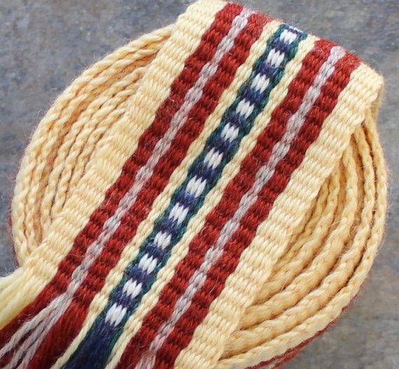Inkle Weaving, Medieval Trim, Inkle Woven, Hand Woven Hat Band Trim, Hand Woven Ribbon, Period Costume Trim, Inkle Band, Viking Dress Trim
