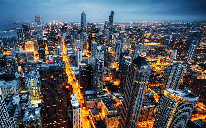 Herunterladen hintergrundbild chicago, 4k, usa, wolkenkratzer, abend, großstadt, city lights, illinois