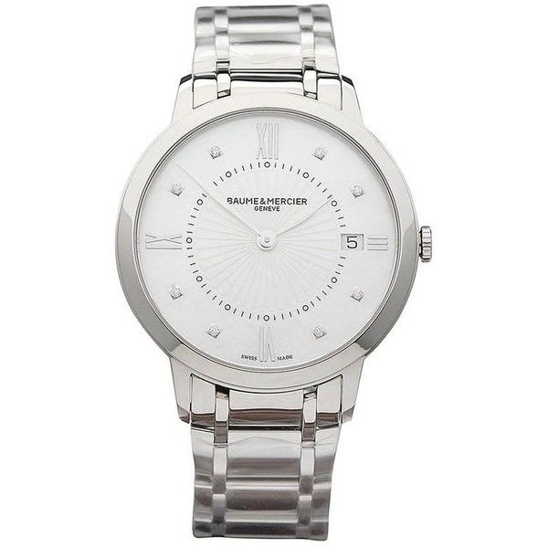 Preowned Baume & Mercier Ladies Stainless Steel Classima Automatic... ($1,974) ❤ liked on Polyvore featuring jewelry, watches, multiple, wrist watches, stainless steel jewellery, buckle jewelry, baume mercier watches, buckle watches and pre owned watches
