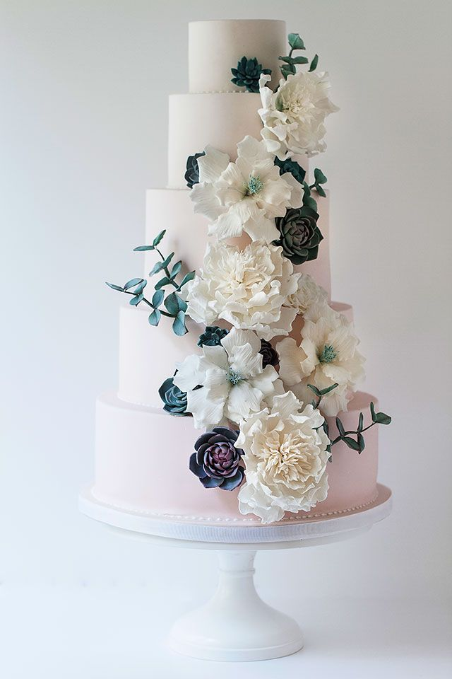 Wildflower Cakes London Ombre Pink Wedding Cake With Sugar Flowers Roses Peonies Eucalyptus