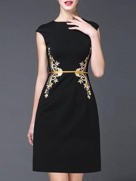 Shop Mini Dresses - Black Floral Casual Mini Dress online. Discover unique…