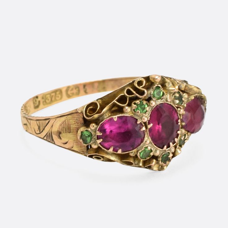 Victorian Scrolled Red Green Paste Stone Ring - Walmart jewelry, Vintage costume jewelry, Jewelry ads - 웹
