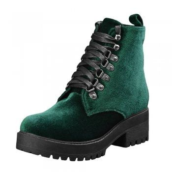 Emerald green TUK boots. These alternative boots are made from a sumptuous velvet and are super comfortable featuring a 5cm heel, a…