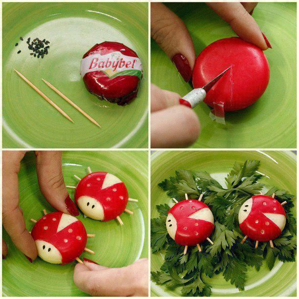 cute party appetizers babybel ladybugs diy toothsticks www.diy-enthusiasts.com #afs collection