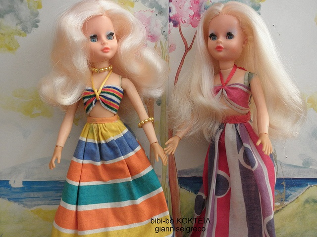 """Bibi-bo was very popular among us Greek girls and in all advertisements was called as """"The sweetest in the world!"""" -- and indeed she was. It was a pleasure to comb the rich blonde hair of this doll and her real -not painted- blue eyes were absolutely lovely! I remember that it was my most favourite toy when I was a kid; I had a rich collection of her clothes, a wardrobe to put them in, and her car!"""