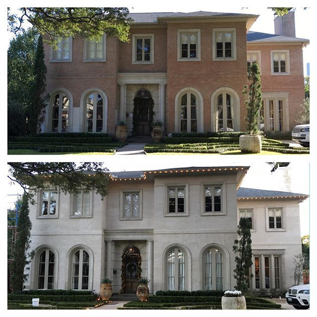 before and after pictures of this house where we did a plaster slurry on the exterior brick