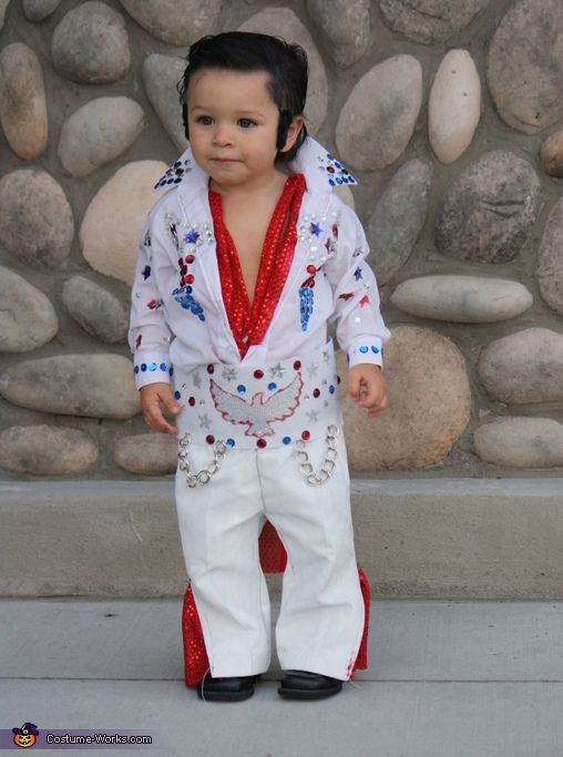 Taylor: The Mini Elvis aka my son Brennen, is 16 months old. This suit was originally from a wedding he was in and we painted it and bedazzled it to make...
