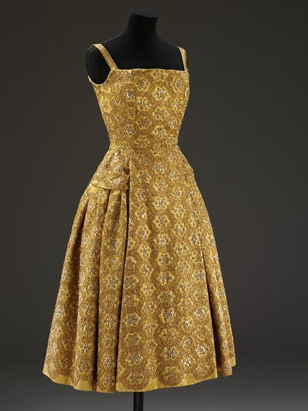 ~Evening Ensemble, Christian Dior, 1954-55, French; Satin with silver thread embroidery and couched gold metal thread, lined with silk organza~