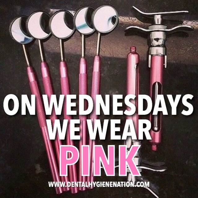 Pink dental instruments.