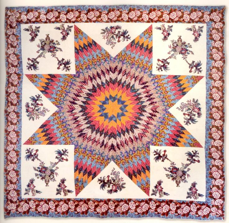 Star of Bethlehem Quilt with Broderie Perse - MidAtlantic origin, circa 1830 (Courtesy: Stella Rubin Antique Quilts and Decorative Arts)