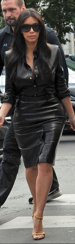 Kim Kardashian: Sunglasses – Saint Laurent Shirt – Balmain Shoes – Tom Ford