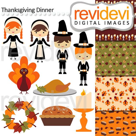 Thanksgiving Dinner 08128.. Digital clipart commercial by revidevi