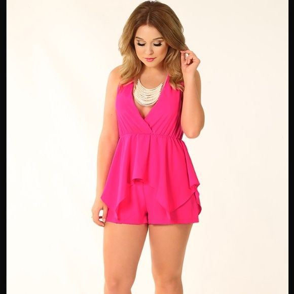 HP 8.30.15 Shop hopes pink romper Hot pink romper. Great condition! Comes from a smoke free home! NWOT! Stretchy so can fit a large if needed! Would look great with heels or boots! Shop hopes Tops